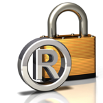 Silver trademark lawyer registration logo in front of gold padlock