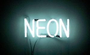 Neon sign representing a trademark name